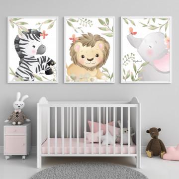 Set 3 tablouri - Zebra, Leul si Elefantul