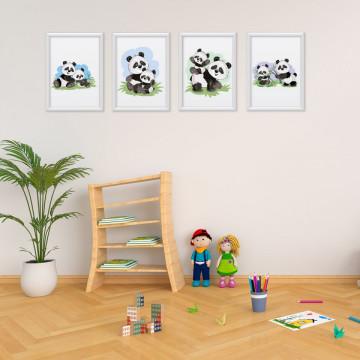 Set 4 tablouri - Ursuletii Panda Mama & Puiul