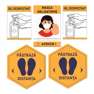 Set Stickere - Autocolante Informare si atentionare Coronavirus - Covid-19, Model 6