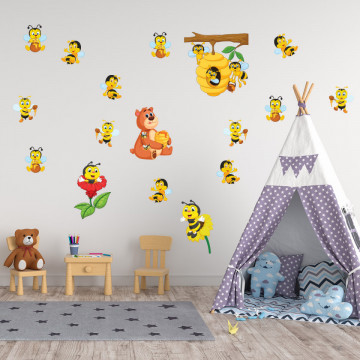 Set stickere decorative perete copii - Albinutele 2, 60x90cm