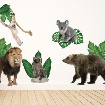 Set stickere decorative perete copii - Animalele Junglei 3 , 60x90cm