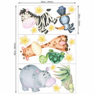 Set stickere decorative perete copii - Animalute din jungla 1, 60x90cm