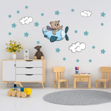 Set stickere decorative perete copii - Avion cu ursulet si stelute