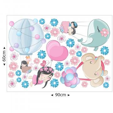 Set stickere decorative perete copii - Balonasele cu animale si copii, 60x90cm