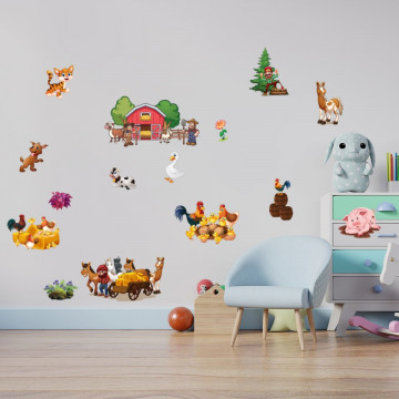 Set stickere decorative perete copii - Ferma23, 60x90cm