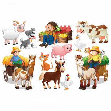 Set stickere decorative perete copii - Ferma3, 60x90cm
