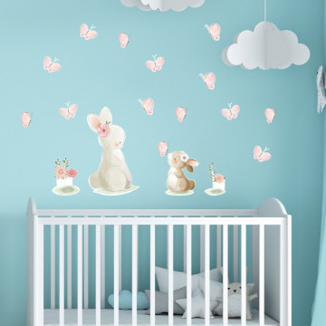 Set stickere decorative perete copii - Iepurasul cu puiul 60x90