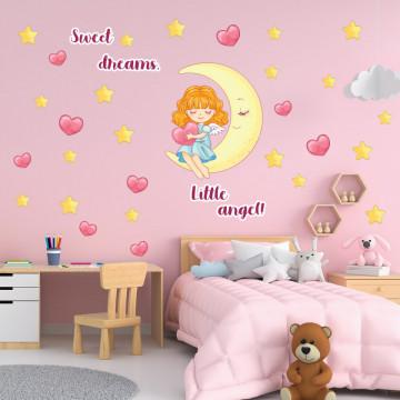 Set stickere decorative perete copii - Ingerasul pe luna 60x90