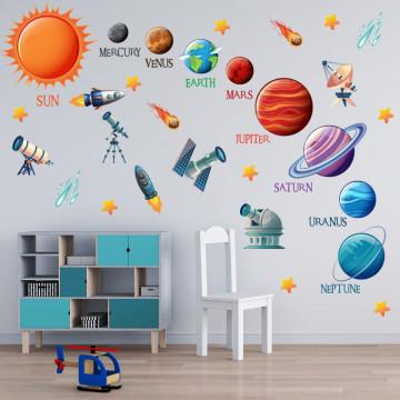 Set stickere decorative perete copii - Planetele2, 60x90cm