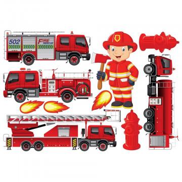 Set stickere decorative perete copii - Pompierul 60x90