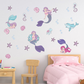 Set stickere decorative perete copii - Sirenele 60x90cm
