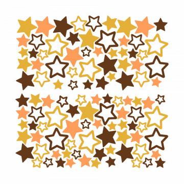Set stickere decorative perete copii - Stelute multicolore galben si maro , 60x60cm