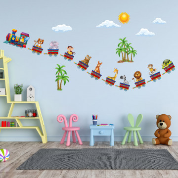 Set stickere decorative perete copii - Trenuletul animalelor , 60x90 cm