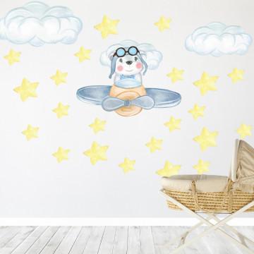 Set stickere decorative perete copii - Ursuletul cu avion, 60x60 cm