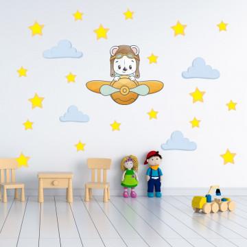 Set stickere decorative perete copii - Ursuletul cu avion galben 60x90cm