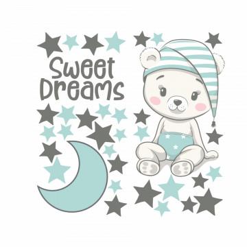 Set stickere decorative perete copii - Ursuletul somnoros-albastru, 60x60cm