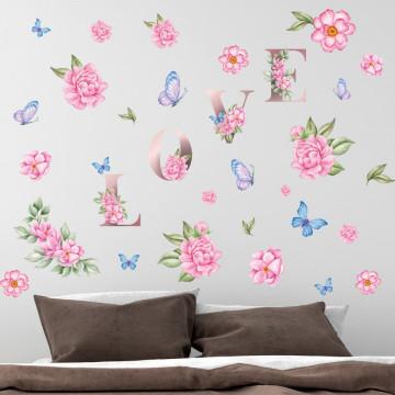 Set stickere decorative perete - Flori & Love & Fluturi, 60x90cm