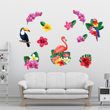 Set stickere decorative perete - Flori & Pasari exotice, 60x90cm