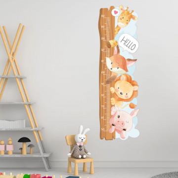 Sticker perete Masurator pentru copii - Animalutele, 40x120 cm