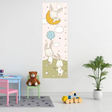 Sticker perete Masurator pentru copii - Iepurasii, 40x120 cm