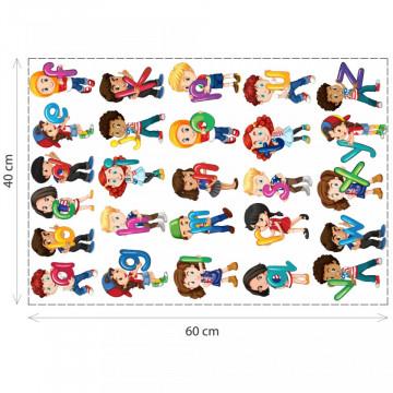 Stickere Educationale copii - Alfebetul cu copii, set 40x60cm