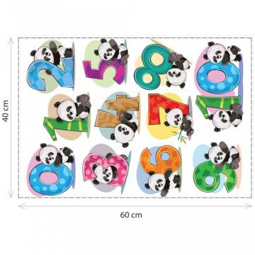 Stickere Educationale copii - Numerele cu ursuletul Panda, set 40x60cm