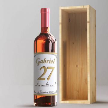 Sticla vin Personalizata - Nume, ani, mesaj si data