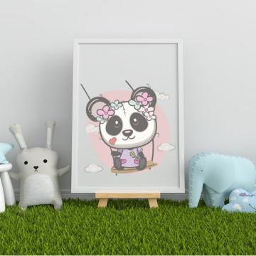 Tablou - Ursuletul panda cu flori