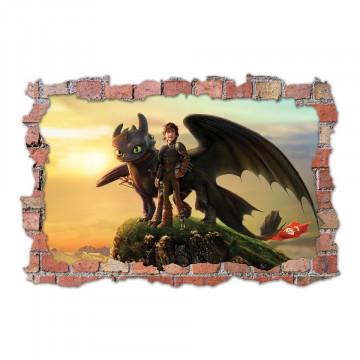 3D Sticker perete 60x90cm - How to train your dragon 3