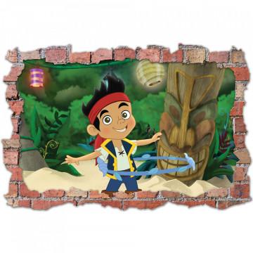 3D Sticker perete 60x90cm - Jack si Piratii