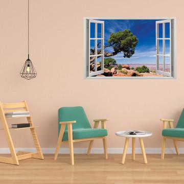Fereastra 3D, Sticker perete - Peisaj cu desert