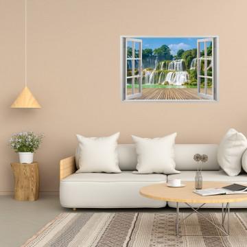 Fereastra 3D, Sticker perete - Peisaj cu o cascada