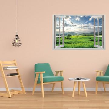 Fereastra 3D, Sticker perete - Peisaj de deal