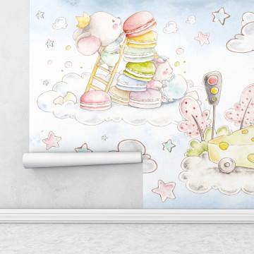Fototapet autoadeziv copii - Soriceii pe nori