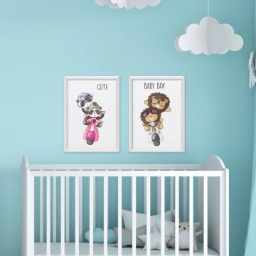 Set 2 tablouri - Ursuletii Panda & Leii