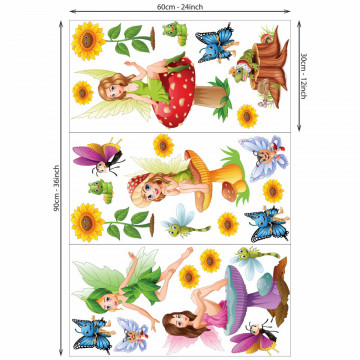 Set 20 stickere decorative perete copii - Zanele, 60x90cm