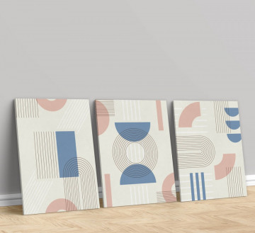 Set 3 Tablouri Canvas, Geometrie