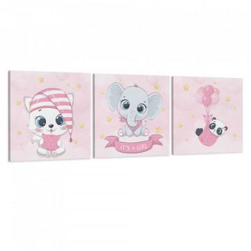 Set 3 Tablouri Canvas, It's a girl