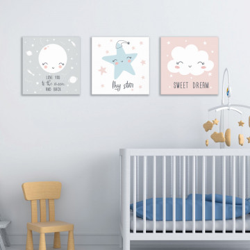 Set 3 Tablouri Canvas, Love you to the Moon & Back