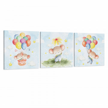 Set 3 Tablouri Canvas, Soriceii cu Balonase