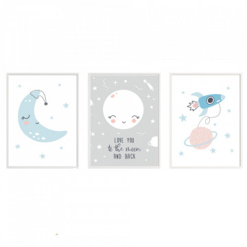 Set 3 tablouri - Love you to the moon and back