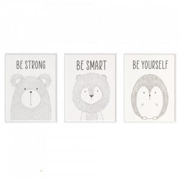 Set 3 tablouri - Ursul, Leul, Ariciul