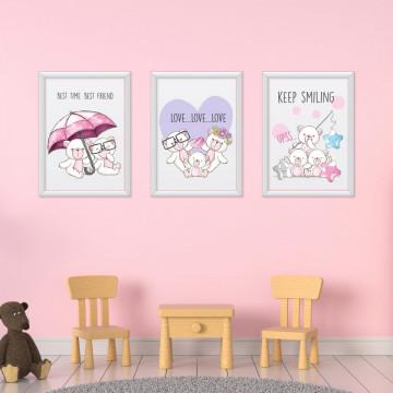 Set 3 tablouri - Ursuletii albi
