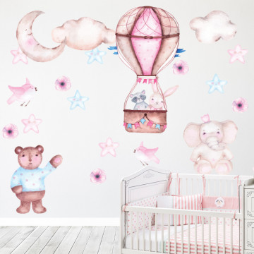 Set stickere decorative perete copii - Animale & Baloane, 60x90cm