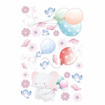 Set stickere decorative perete copii - Animale & Balonase, 60x90cm