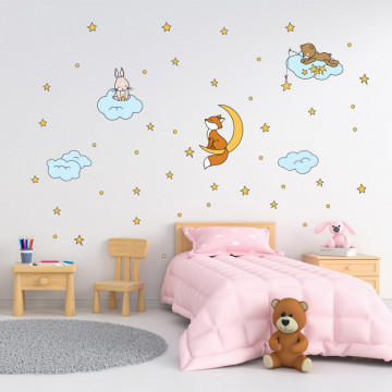 Set stickere decorative perete copii - Animale vesele pe nori, 60x90 cm