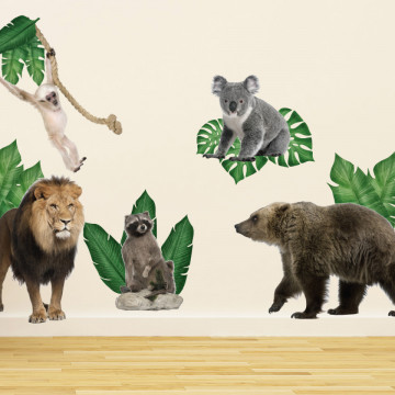 Set stickere decorative perete copii - Animalele Junglei 3 , 60x90cm