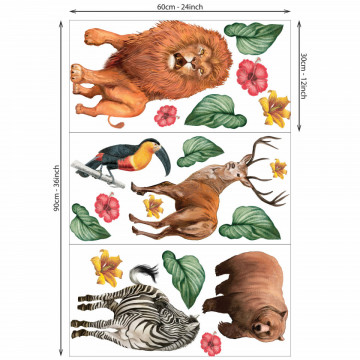 Set stickere decorative perete copii - Animalele Salbatice5, 60x90cm