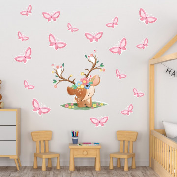 Set stickere decorative perete copii - Caprioara cu fluturasi 60x90