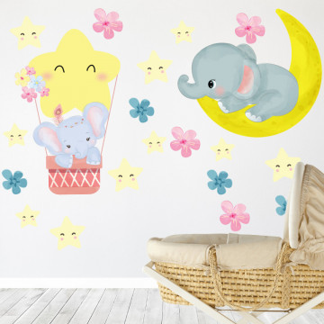 Set stickere decorative perete copii - Elefantul somnoros8 , 60x60cm